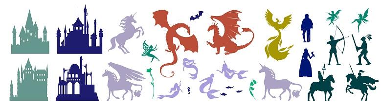Medieval castle and mythical fairy tale character set, vector illustration. Magic unicorn, Pegasus, firebird, cute fairy