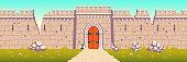 Medieval castle broken, ruined wall cartoon vector
