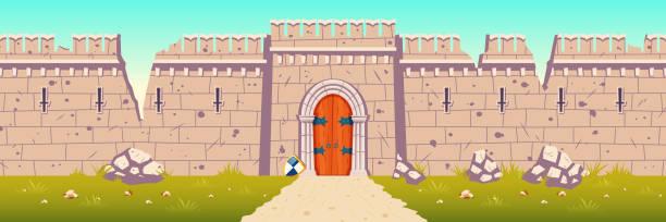 stockillustraties, clipart, cartoons en iconen met middeleeuws kasteel gebroken, geruïneerde muur cartoon vector - versterkte muur