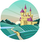 medieval castle cartoon illustration