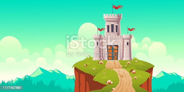 istock Medieval castle, fort on cliff cartoon vector 1177407861