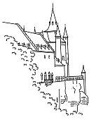 Medieval castle in Segovia, Spain. Hand-drawn in outline graphic style