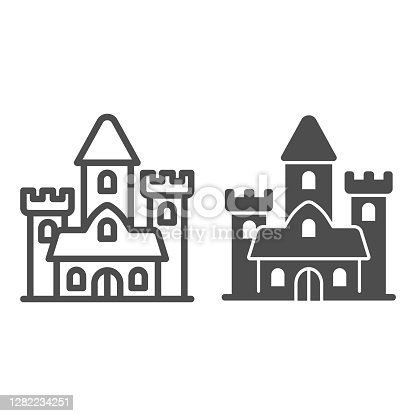 Medieval castle line and solid icon, fairy tales concept, palace sign on white background, gothic mansion icon in outline style for mobile concept and web design. Vector graphics