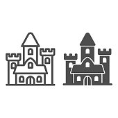 istock Medieval castle line and solid icon, fairy tales concept, palace sign on white background, gothic mansion icon in outline style for mobile concept and web design. Vector graphics. 1282234251