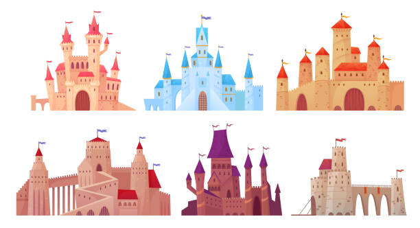 ilustrações de stock, clip art, desenhos animados e ícones de medieval castle towers. fairytail mansion exterior, king fortress castles and fortified palace with gate cartoon vector set - castle