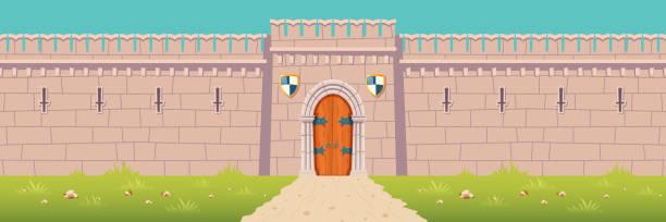 stockillustraties, clipart, cartoons en iconen met middeleeuws kasteel, stadvesting muur cartoon vector - versterkte muur