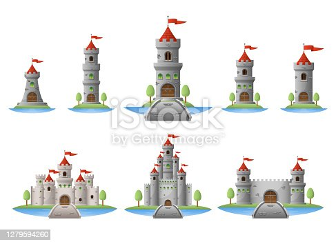 Beautiful vector design illustration of medieval castle isolated on white background