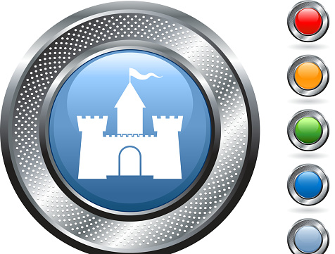 medieval castle Vector Icon on button with metallic border