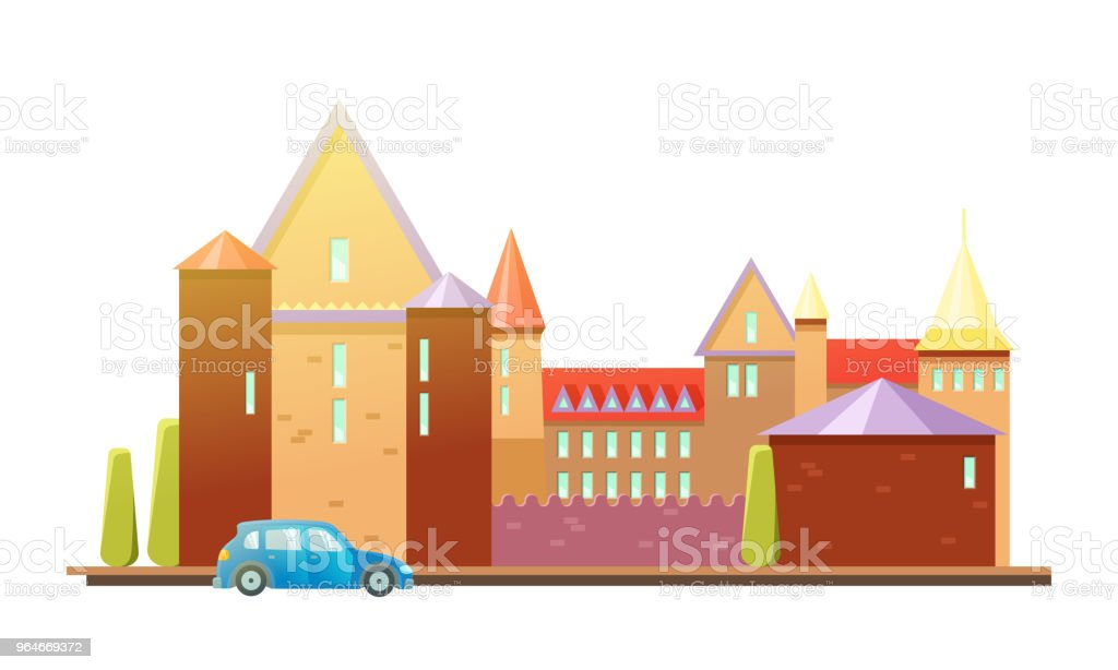 Medieval castle with fortified wall and towers. Car royalty-free medieval castle with fortified wall and towers car stock vector art & more images of ancient