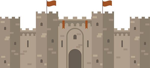 stockillustraties, clipart, cartoons en iconen met medieval castle with fortified wall and towers - versterkte muur
