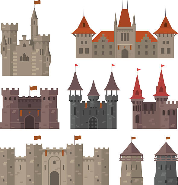 ilustrações de stock, clip art, desenhos animados e ícones de medieval castles, fortresses and strongholds with fortified wall and towers - castle