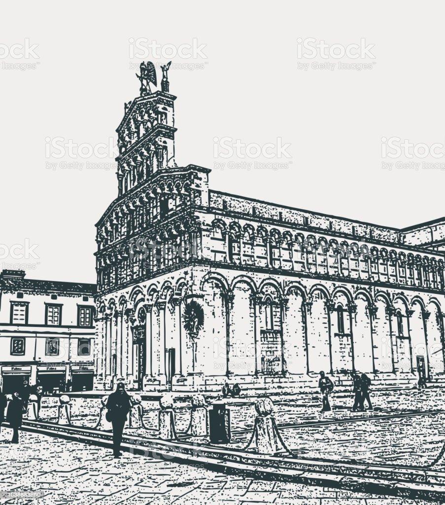Kathedraal Van Lucca.Middeleeuwse Kathedraal Van San Michele In Foro In Lucca