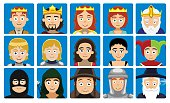 Medieval Characters Avatar Set Cartoon Vector Illustration