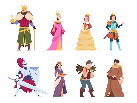 Medieval characters. Flat historical people, king queen prince and princess royal set. Vector cartoon fairytale knights and peasant