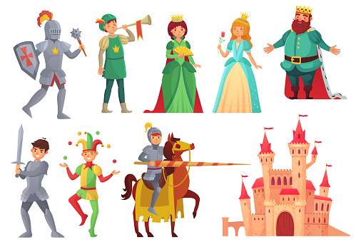 Medieval characters. Royal knight with lance on horseback, princess, kingdom king and queen isolated vector character set