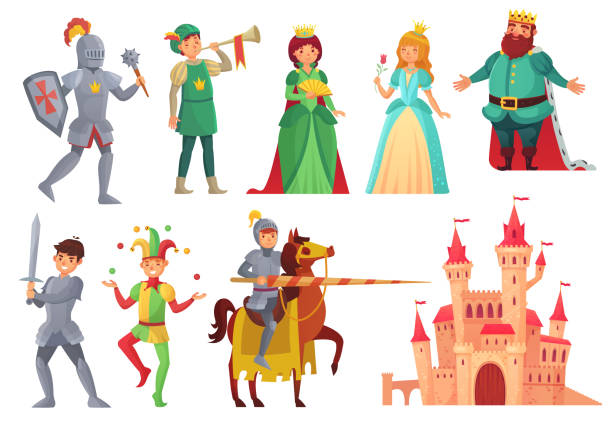 illustrazioni stock, clip art, cartoni animati e icone di tendenza di medieval characters. royal knight with lance on horseback, princess, kingdom king and queen isolated vector character set - personaggio fantastico