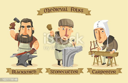 Medieval craftsmen set: A blacksmith forging a sword, a stonecutter carving a stone and a carpenter sawing a wooden beam.