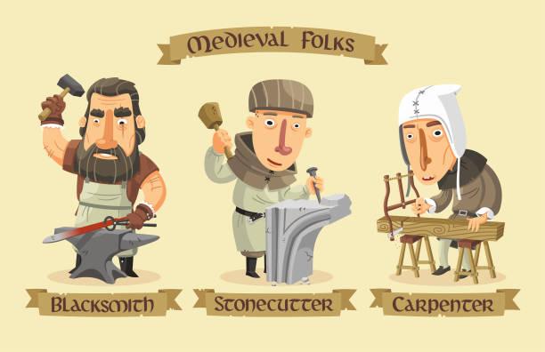 bildbanksillustrationer, clip art samt tecknat material och ikoner med medeltida tecken set - wood stone