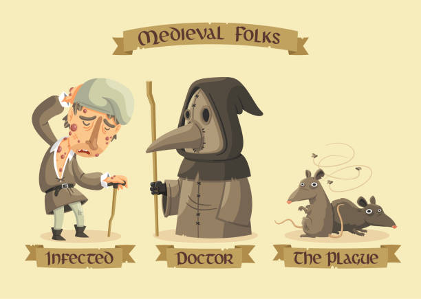 Medieval characters set //Medieval Black Plague set: an infected man with painful buboes, a masked doctor and a group of rats carrying the plague. epidemic stock illustrations