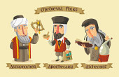 Medieval science set: an astronomer with a quadrant, an apothecary mixing some herbs and an alchemist seeking for knowledge.