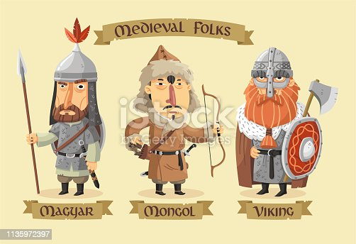 istock Medieval characters set 1135972397