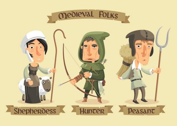 ortaçağ karakter kümesi - ortaçağ stock illustrations
