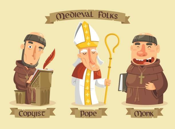 ilustraciones, imágenes clip art, dibujos animados e iconos de stock de conjunto de caracteres medievales - hermano