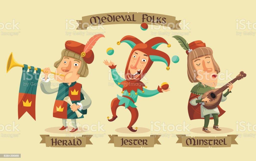 Conjunto de caracteres medievales - ilustración de arte vectorial