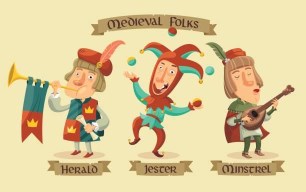 mittelalterliche figuren set - mittelalterlich stock-grafiken, -clipart, -cartoons und -symbole