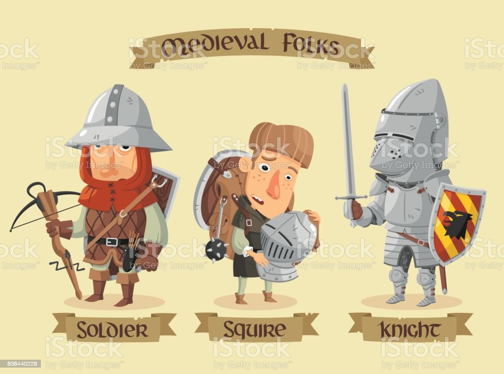 Medieval characters set vector art illustration