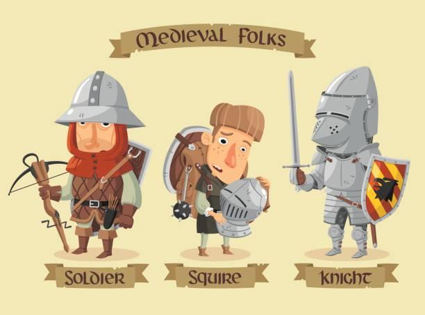 mittelalterliche figuren set - reiter stock-grafiken, -clipart, -cartoons und -symbole