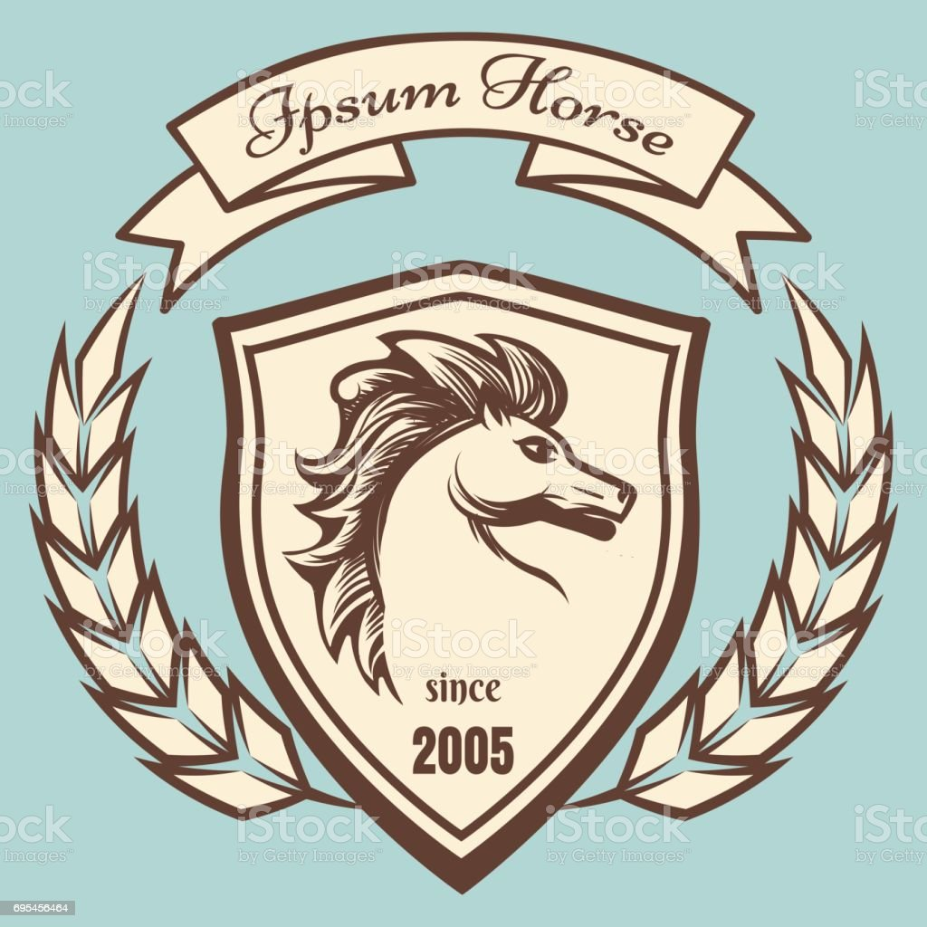 Medieval Coat Of Arms With Horse Stock Illustration Download Image Now Istock