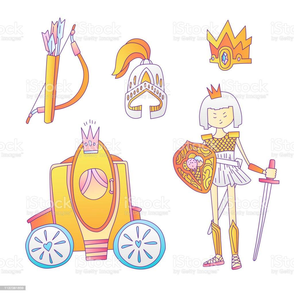 Ilustración De Conjunto De Iconos De Princesa De Dibujos