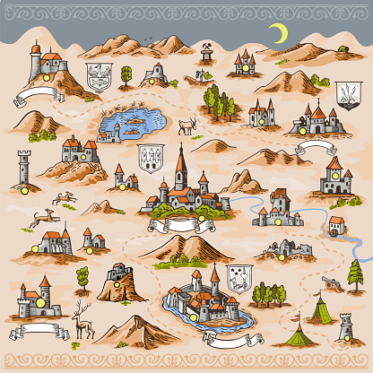 Medieval European map engraving and woodcut style vector cartography landmark illustrations