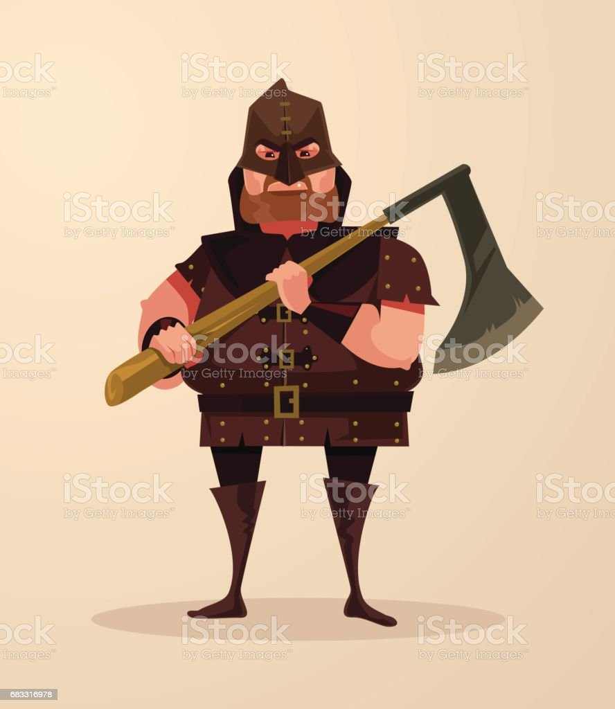 Medieval executioner angry man character hold ax medieval executioner angry man character hold ax – cliparts vectoriels et plus d'images de adulte libre de droits