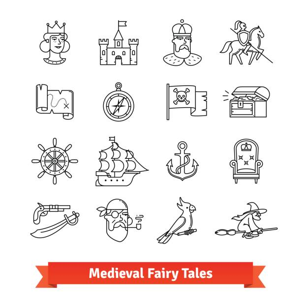 Medieval fairy tales. Thin line art icons set Medieval fairy tales. Thin line art icons set. Adventure book, fantasy board game, pirate saga movie. Linear style symbols isolated on white. antiquities stock illustrations