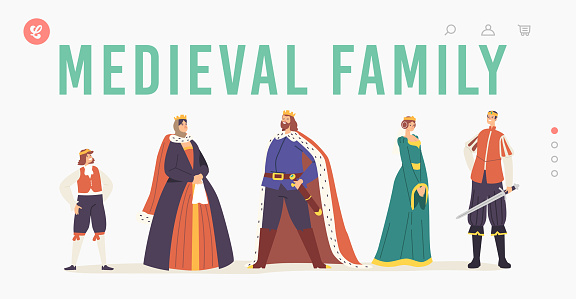 Medieval Family Landing Page Template. Royal Characters, Queen and King, Prince, Princess and Page Personages