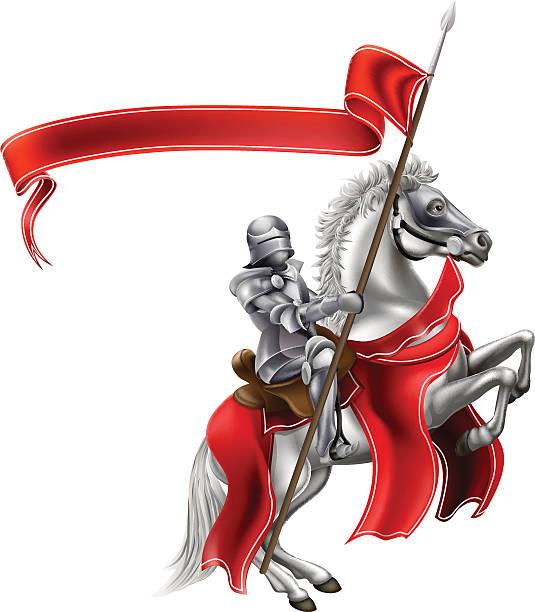 mittelalterliche flagge ritter auf pferd - reiter stock-grafiken, -clipart, -cartoons und -symbole