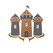 Medieval fortress decorative isolated vector illustration. Retro style label, heraldry illustration. Ancient Citadel sign on isolated white background.