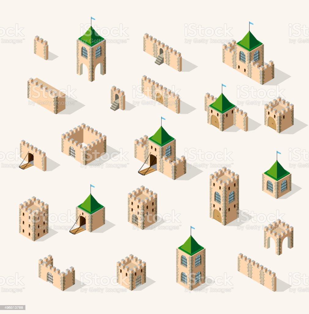 medieval fortress fort vector art illustration