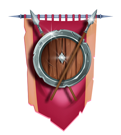 Medieval game shield vector illustration, heraldry knight royal symbol, red banner, iron spear on white.