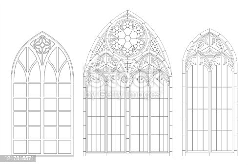 Realistic Gothic medieval contour window or gate arch. Background or texture. Architectural element. Forging