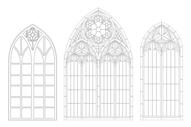 중세 고딕 양식의 윤곽 창 중세 고딕 양식의 윤곽 창 - 아치 건축적 특징 stock illustrations