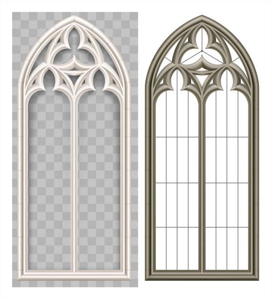 stockillustraties, clipart, cartoons en iconen met middeleeuwse gotische lancet venster - boog architectonisch element