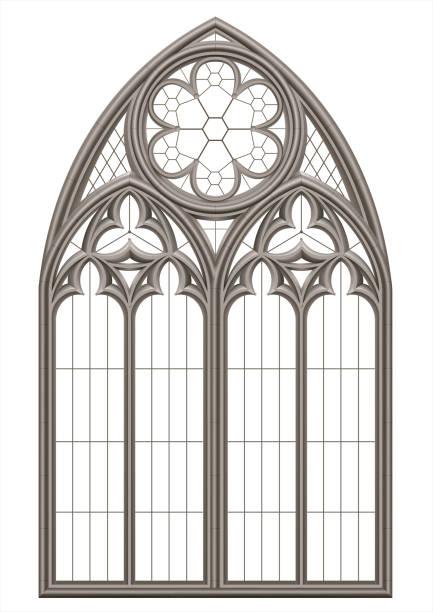 bildbanksillustrationer, clip art samt tecknat material och ikoner med medeltida gotiska blyinfattade fönster - katedral