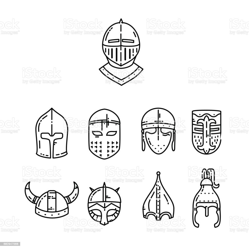 Medieval helmet icon vector art illustration