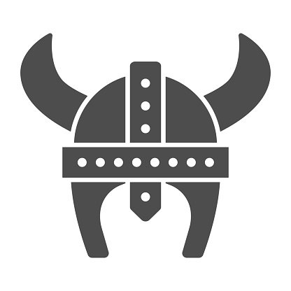 Medieval helmet with horns solid icon, war concept, Horned helmet sign on white background, viking helmet icon in glyph style for mobile concept and web design. Vector graphics.