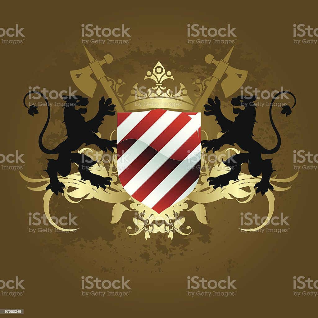 Medieval heraldic shield royalty-free stock vector art