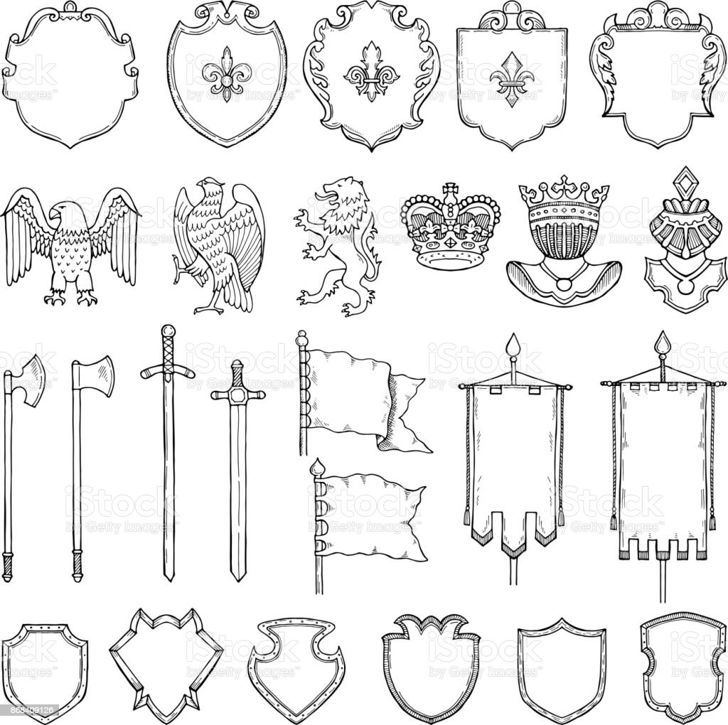 Medieval heraldic symbols isolate on white. Vector hand drawn illustrations