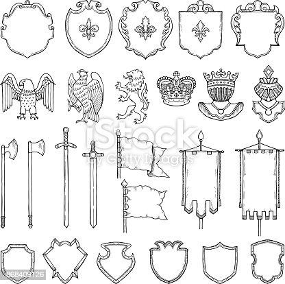 istock Medieval heraldic symbols isolate on white. Vector hand drawn illustrations 868409126